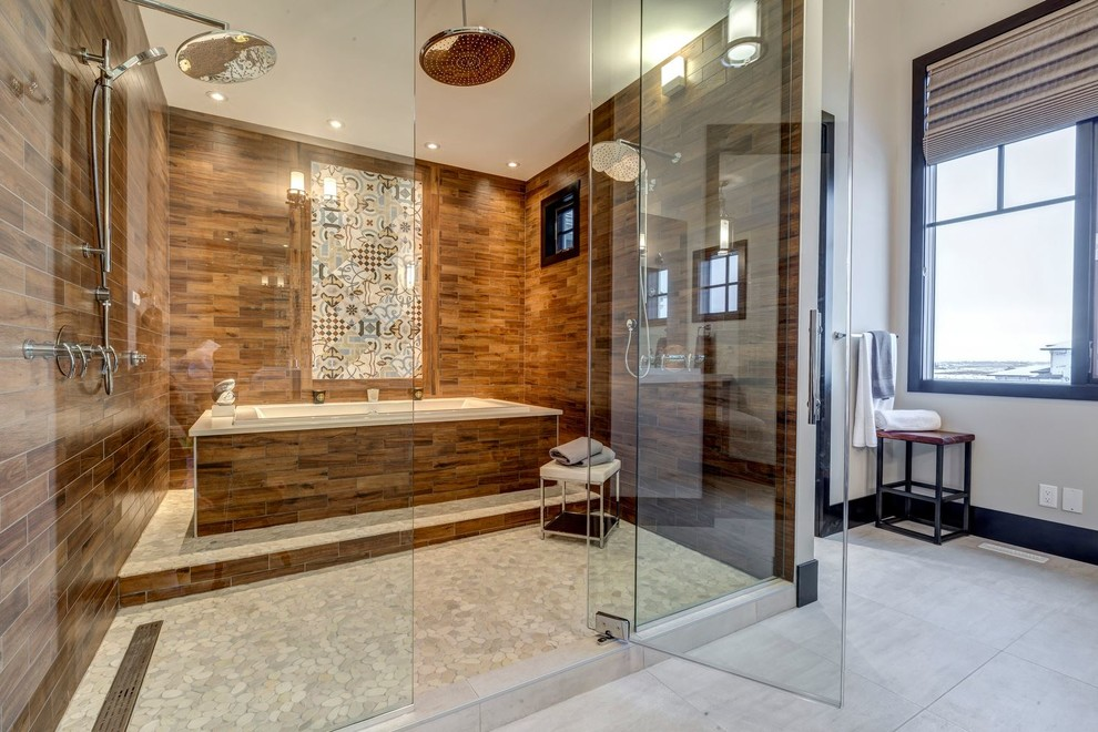 Example of a large trendy master gray floor bathroom design in Orange County with a hinged shower door and white walls