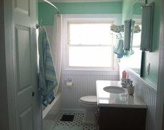 1925 Aqua & White Hall Bathroom traditional-bathroom
