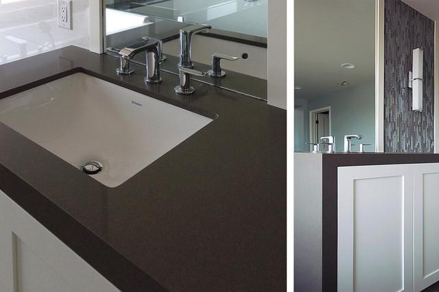 Silestone Waterfall Countertop Craftsman Bathroom Orange County By Moss Yaw Design Studio