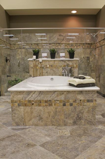 Silver Travertine Bathroom Mediterranean Bathroom