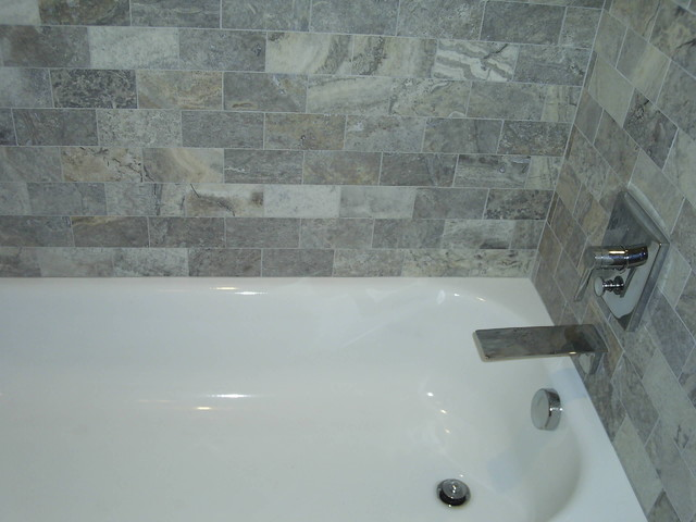 Silver Travertine Bathroom Detroit By Maloney Tile