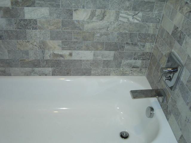 Silver Travertine Bathroom Detroit By Maloney Tile