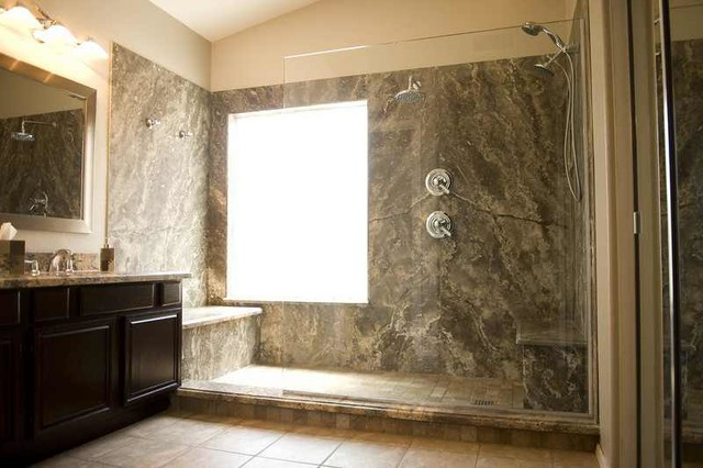 Silver Travertine Shower Contemporary Bathroom Houston By Forza Stone Building Solutions