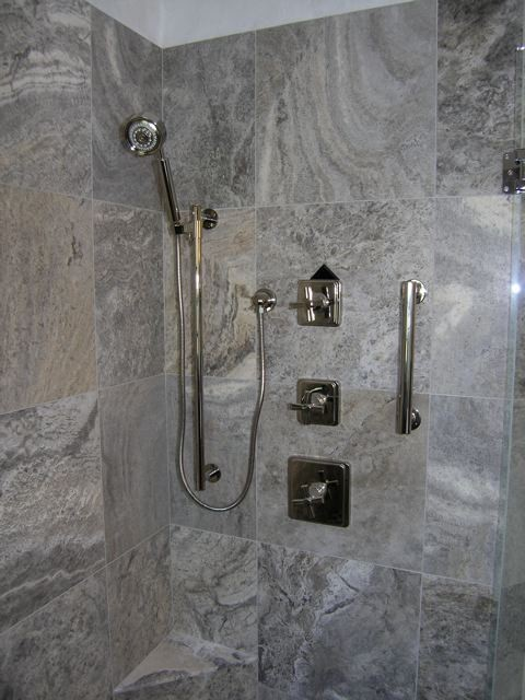 Silver Travertine Tiles Modern Bathroom Tampa By