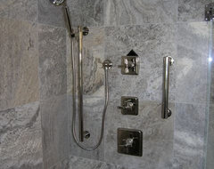 Silver Travertine Tiles modern-bathroom