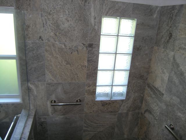 Silver Travertine Tiles Modern Bathroom