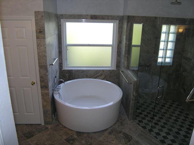 Silver Travertine Tiles modern-bathroom