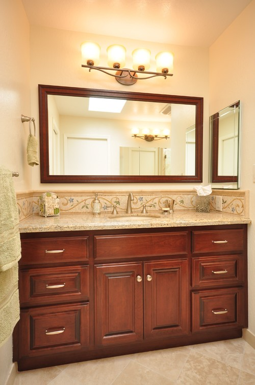 Vanity Light Distance Above Mirror : What is the standard elevation of sconce located over bathroom mirror?