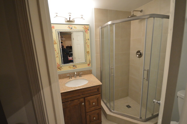 Simple bathroom remodel with neo angle shower for Bath remodel baltimore
