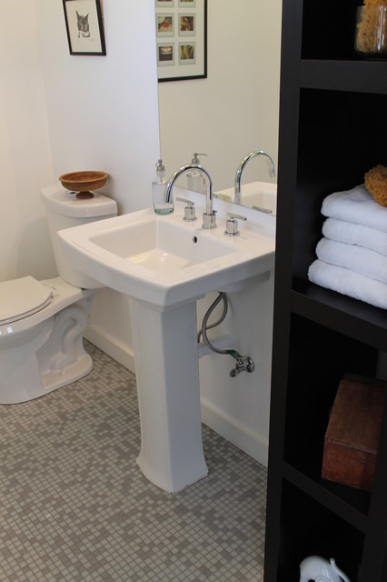 Simple Clean White Bathroom With Storage Modern