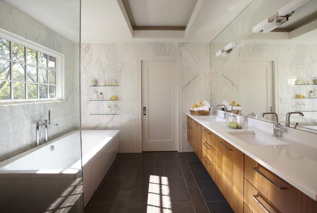 Simplistic Galley contemporary-bathroom