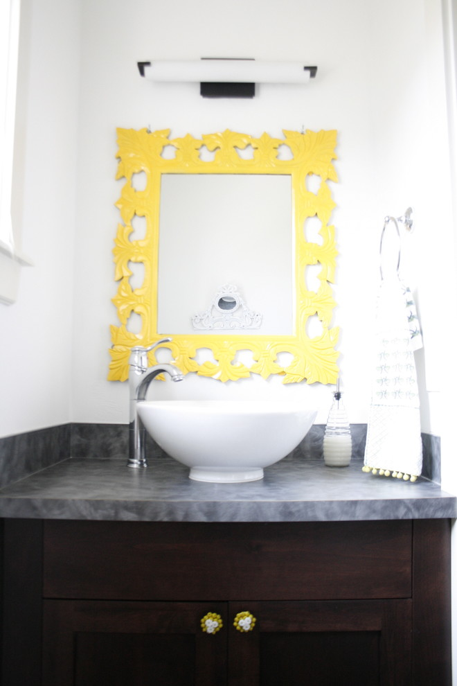 Example of an eclectic bathroom design in Boise with a vessel sink