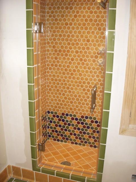 Single Frameless Shower Door Mediterranean Bathroom