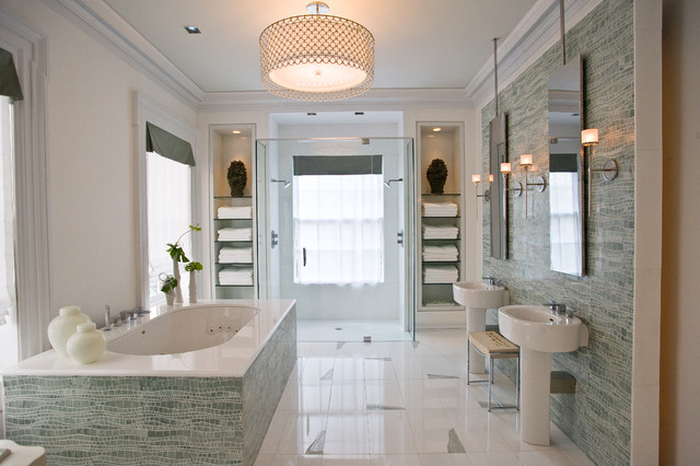 Sinuous spa modern bathroom new york by artistic tile for Small bathroom design houzz