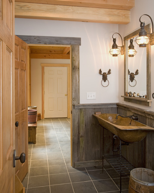 Ski resort lodge rustic bathroom burlington by for Design skihotel