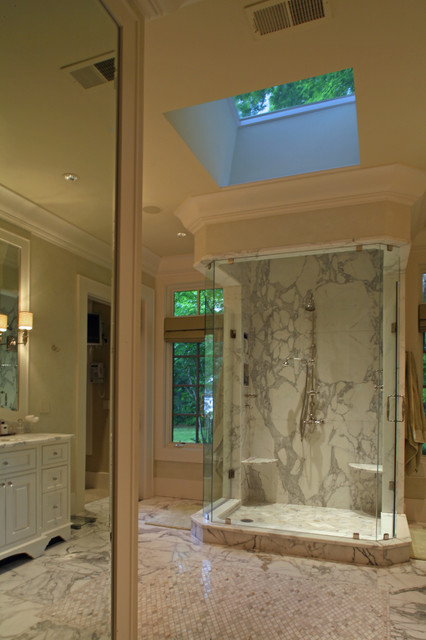bathroom tile shower pictures skylight complements calacatta slab shower traditional 16825