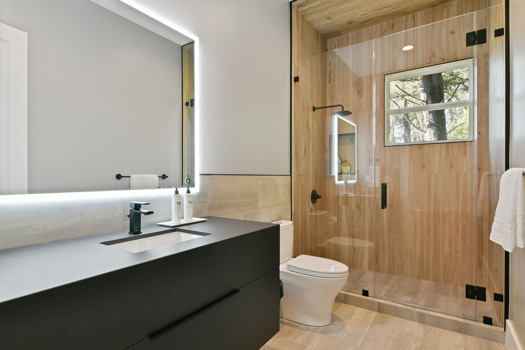 75 Beautiful Brown Tile Bathroom With Black Cabinets Pictures Ideas March 2021 Houzz