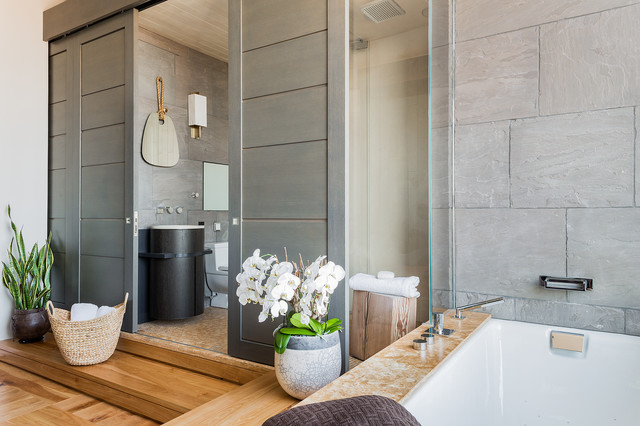 Bathroom - contemporary master bathroom idea in Boston