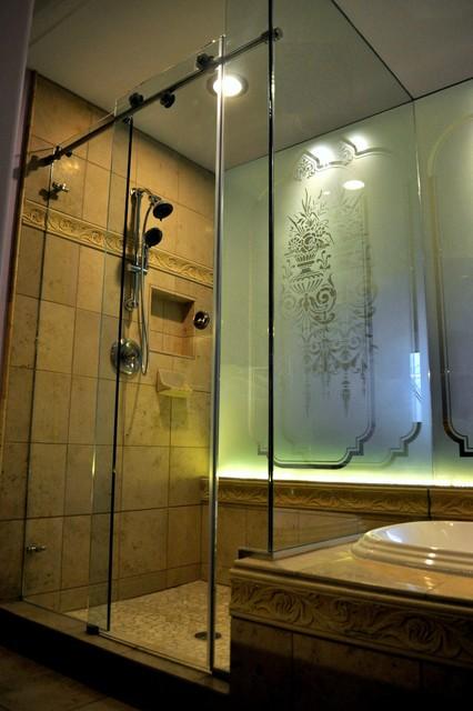 Skyline Sliding Shower Door Contemporary Bathroom Minneapolis By American Glass Mirror
