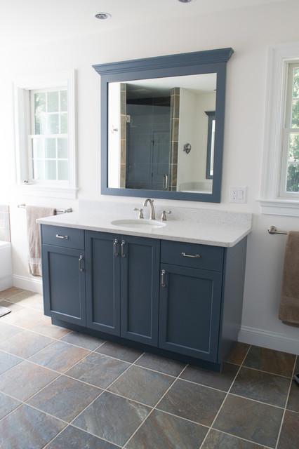 Slate blue bathroom transitional bathroom other for Slate blue kitchen decor