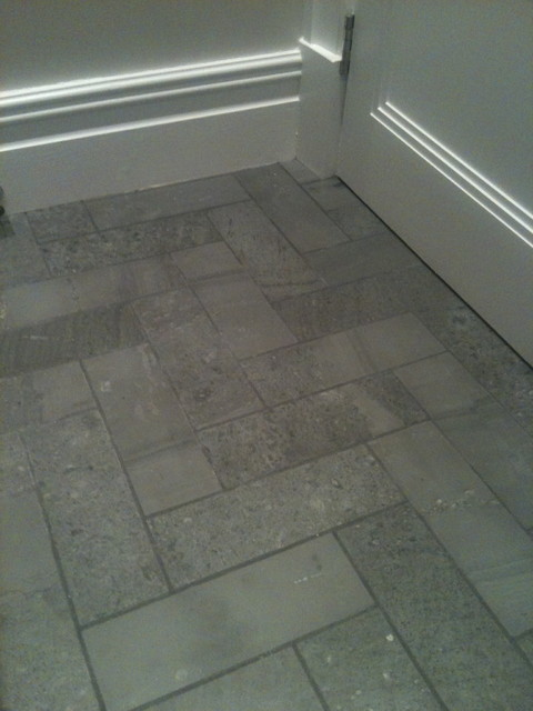 Slate Herringbone Modern Bathroom Other