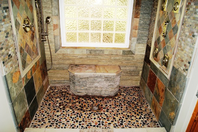 slate river rock bathroom