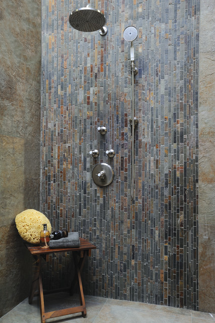 Slate Shower Contemporary Bathroom