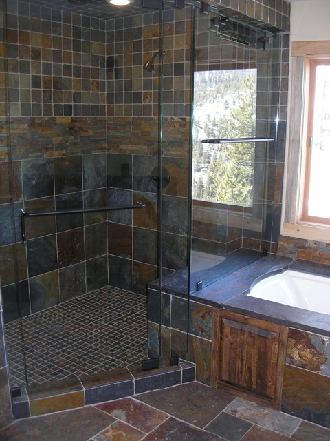slate tile shower traditional bathroom