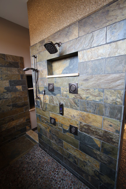 Slate tiled shower rustic bathroom cleveland by for Cabin shower tile ideas