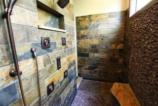 Slate Tiled Shower Rustic Bathroom Cleveland By