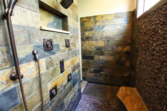 Slate Tiled Shower Rustic Bathroom