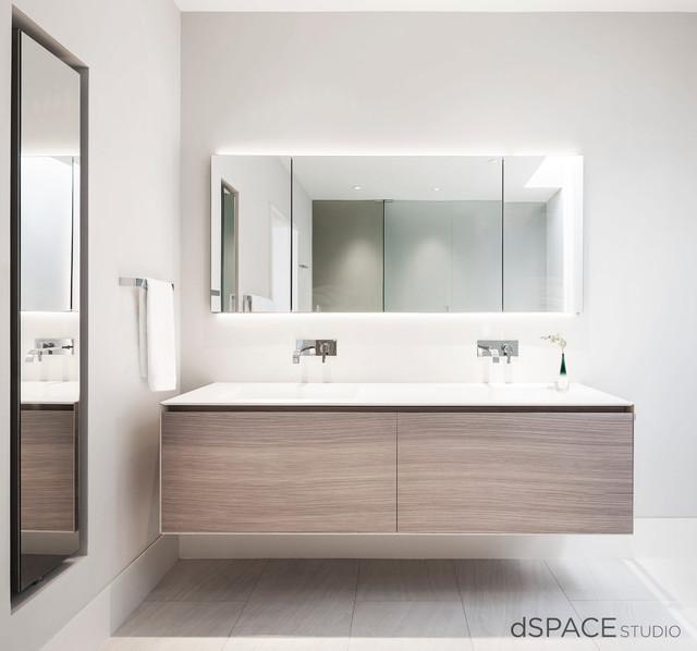 Sleek Contemporary Master Vanity Contemporary Bathroom Chicago By DSP