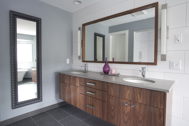 Example Of A Trendy White Tile Bathroom Design In Minneapolis With  Flat Panel Cabinets And