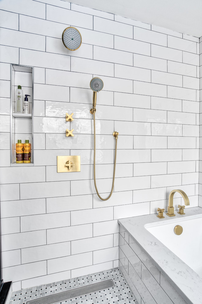 Sleek White And Br Shower With Niche
