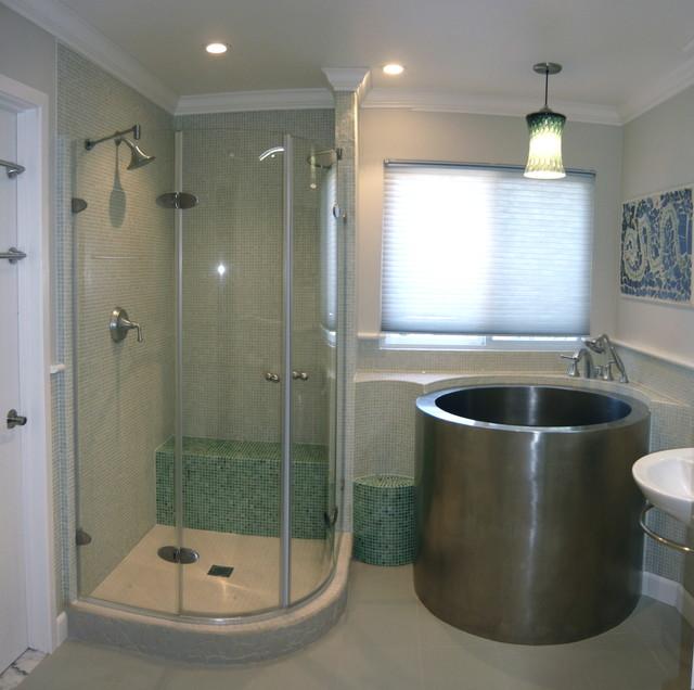 Sleek White Bathroom Remodel Asian Bathroom