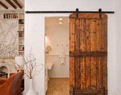 sliding barn door eclectic living room