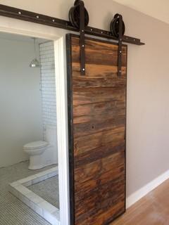 Sliding Barn Door - Mushroom Wood / Red-Grey Hemlock - Contemporary - Bathroom - Phoenix - by ...
