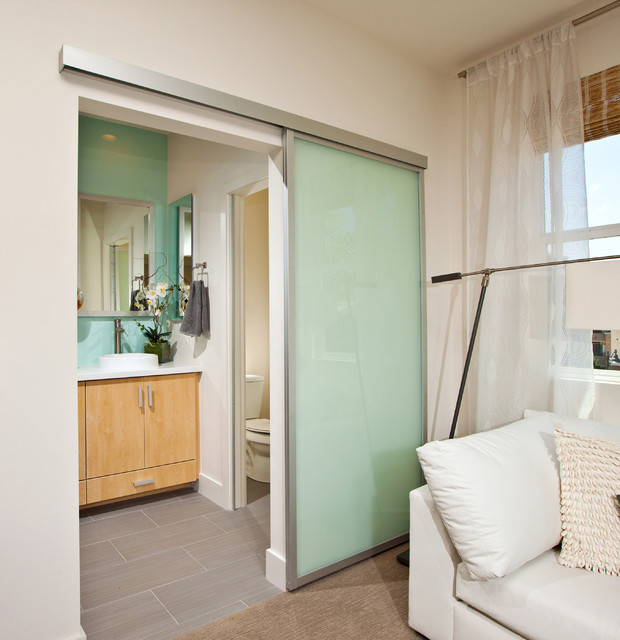 Perfect Sliding Passage Door | Satin Aluminum Surface Mounted Top Hung Sliding Door  Contemporary Bathroom