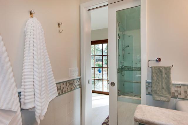 Gentil Sliding Pocket Door With Mirror Inside Contemporary Bathroom