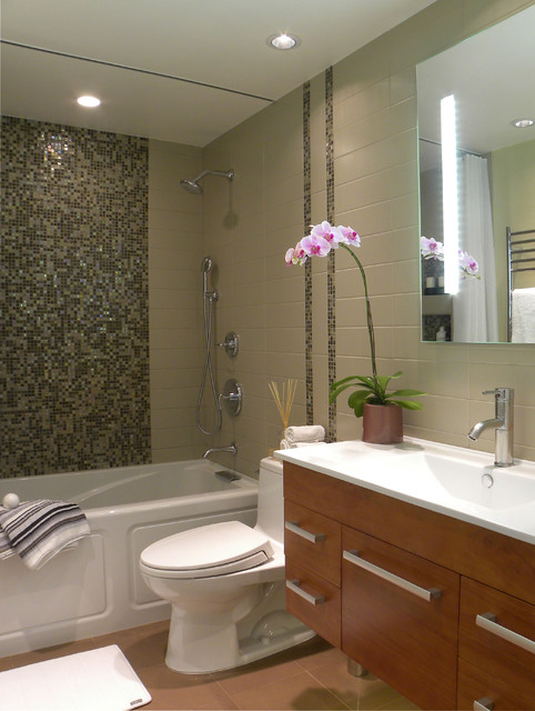 Small bath remodel contemporary bathroom orange for Bathroom remodels for small bathrooms