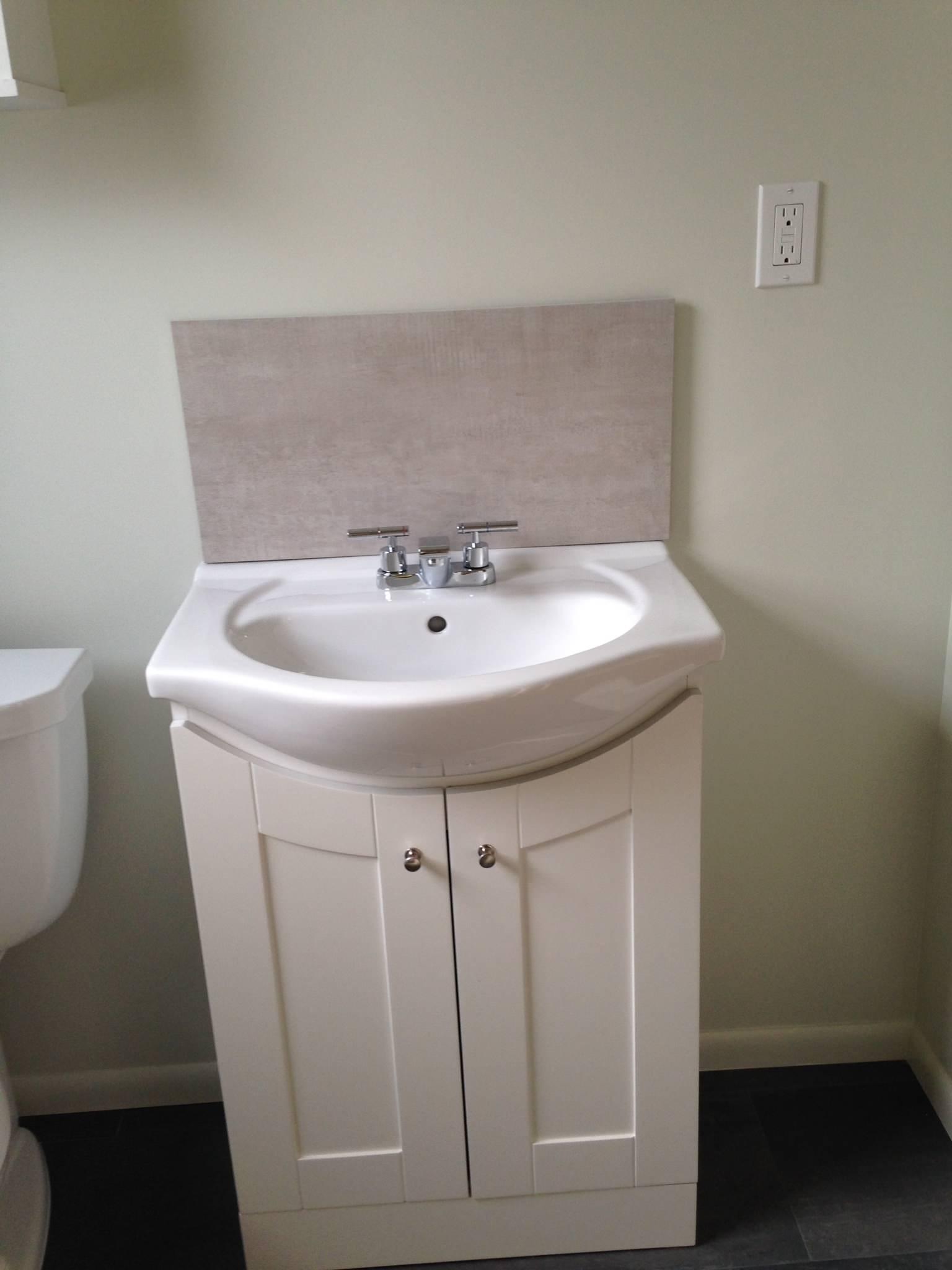 Small bath vanity new back splash