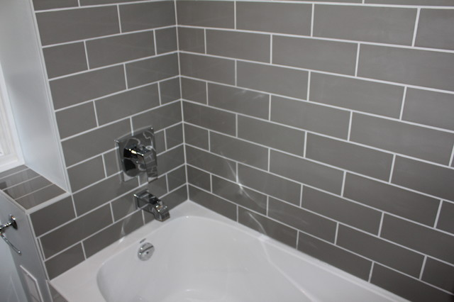 example of a small minimalist bathroom design in toronto with gray tile and ceramic tile saveemail bowerbird renovations
