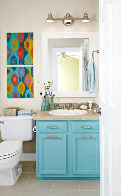 Small Bathroom Update With A Pop Of Color Contemporary