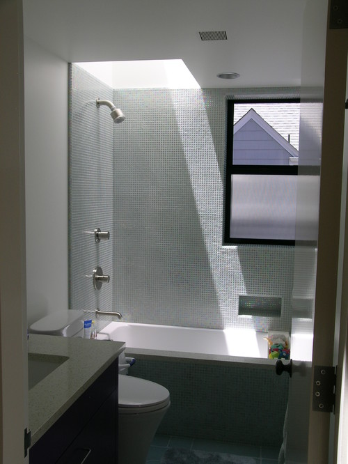 Small bathroom with skylight