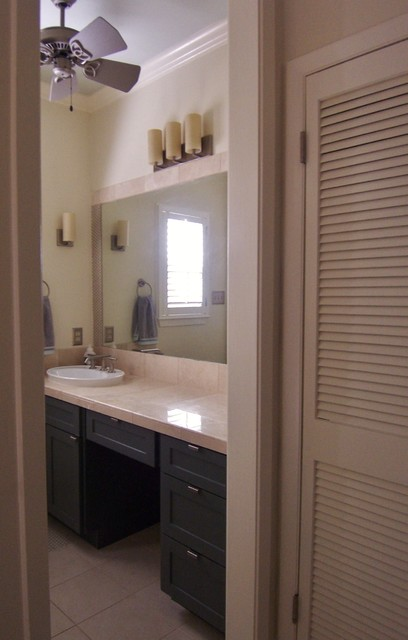 Small Ceiling Fan Over Vanity Traditional Bathroom