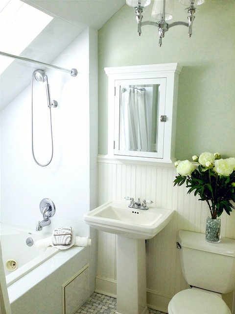 Small Green And White Master Bathroom With Carrara Marble Floor Traditional