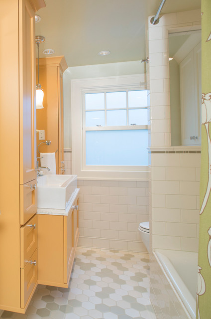 Small Hall Bathroom Remodel In Ne Portland Irvington Neighborhood Transitional Bathroom