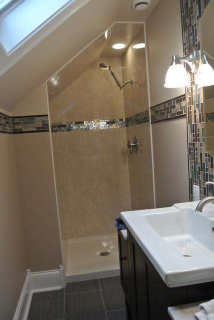tiny attic bathroom ideas - Small Master Bathroom Contemporary Bathroom chicago