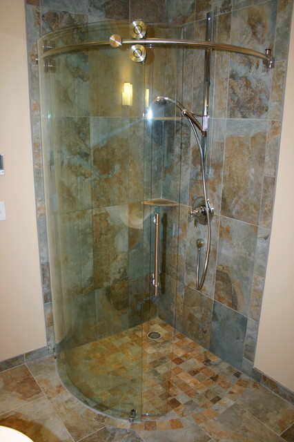 Small Master with curved 3/4 round shower - Contemporary - Bathroom ...