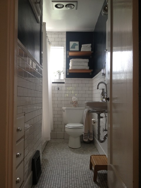 Small Narrow Bathroom Remodel Traditional